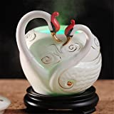 ATC 400ml Ceramic Swan Sculpture 7 Color Changing Light Essential Oil Diffuser Ultrasonic Aromatherapy Humidifier with Waterless Auto Shut-Off For Office Home Bedroom Baby Room Study Yoga Spa