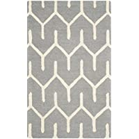 Safavieh Cambridge Collection CAM720D Handcrafted Moroccan Geometric Dark Grey and Ivory Premium Wool Area Rug (3 x 5)