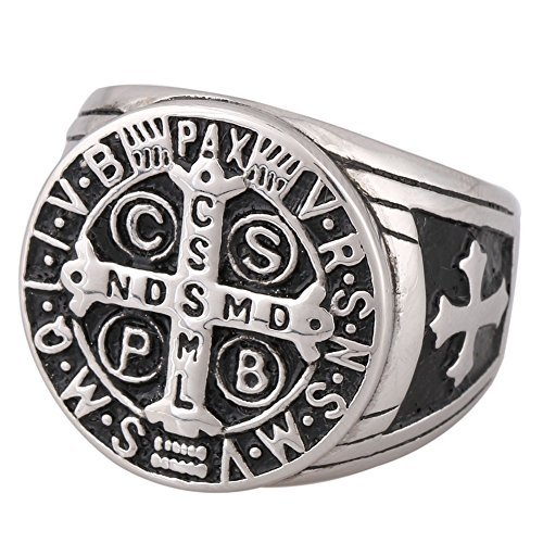 (Zovivi St Benedict Exorcism Stainless Steel Ring Demon Protection Ghost Hunter CSBP)