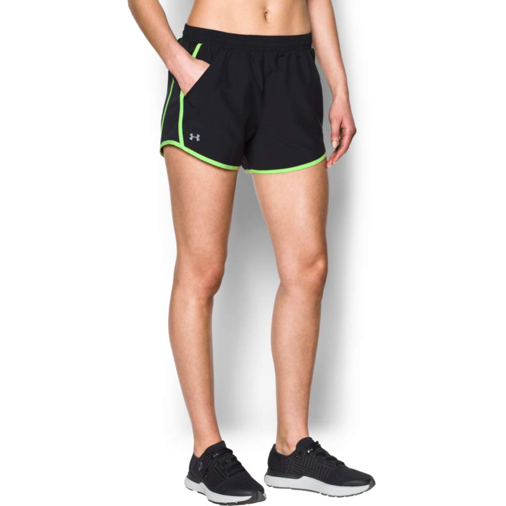 cbdeaa42 Under Armour womens Fly By Running Shorts, Black (013)/Reflective, Large