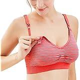 Exlura Women's Nursing Maternity Stripes Wireless Bras Bralette for Breastfeeding
