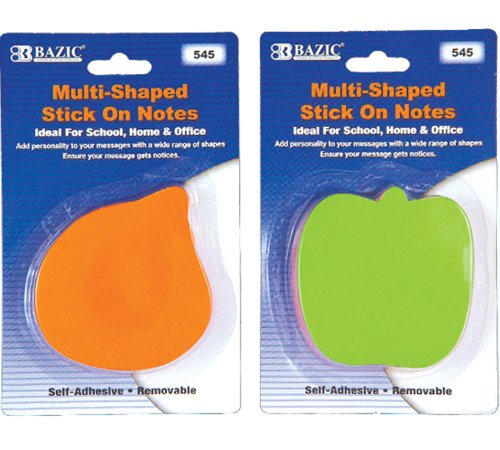 BAZIC Assorted Shapes Neon Stick On Notes, 3 Per Pack