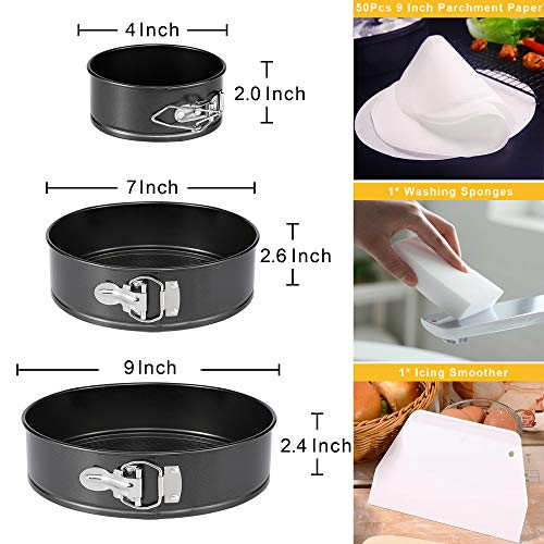 "Molgree Nonstick Springform Cake Pan Set,Leakproof 3pcs(4""/7""/9"") Round Cake Pan Set,Cheesecake Baking Pan,Spring Form Pan,Spring Pan,Cheesecake Pan with Removable Bottom and 50 Pcs Parchment Paper"