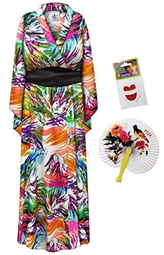 Colorful Fronds Geisha Robe Plus Size Halloween Costume - Basic Kit 1x/2x ()