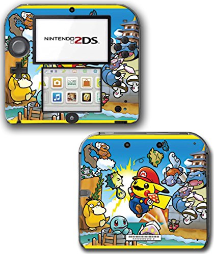 Pokemon Go Pikachu New Super Mario Bros Squirtle Psyduck Video Game Vinyl Decal Skin Sticker Cover for Nintendo 2DS System Console ()