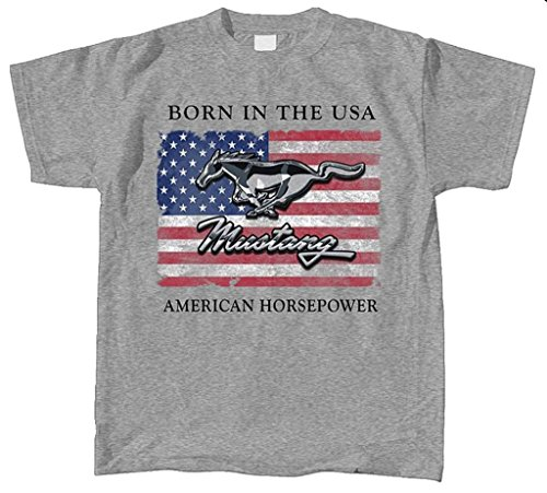 Mustang Small Cotton Ford T-Shirt Oxford Adult Men's Women's Short Sleeve T-Shirt