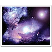 J.P. London Peel and Stick Removable Wall Decal Sticker Mural, Cosmic Galaxy Purple Nebula, 24 by 19.75-Inch