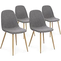 Best Choice Products Set of 4 Fabric Eames Style Dining Side Chairs (Dark Gray)