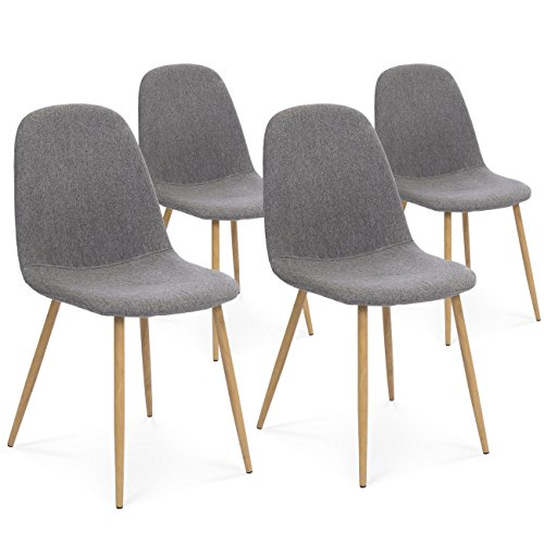 Cheap Best Choice Products Set of 4 Fabric Eames Style Dining Side Chairs (Dark Gray)