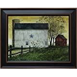 Framed Picture Blue Star Barn Summer Country Rustic