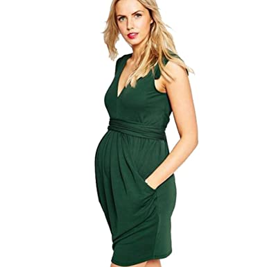 8afba3e89 Binhee Moda Mujer Embarazada Verano Sin Mangas Vestidos De Maternidad   Amazon.es  Ropa y accesorios