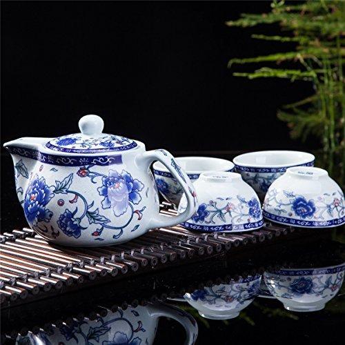 (Exquisite 5 PCS Blue-And-White Peony Design Ceramic Tea Pot Tea Cups Set In Beautiful Color Gift)