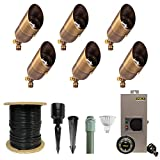 VOLT Lighting 6 Light LED Brass Spotlight Landscape Lighting Kit - 6 Pro-Grade Solid Brass Spotlights, LED Bulbs, Transformer. All Cable and Hub Included - UL/cUL Listed