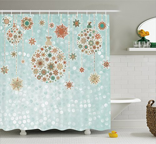 Ambesonne Christmas Decorations Collection, Xmas Balls Vintage Bright Celebration Decor Winter Wonderland Themed Snowflakes, Polyester Fabric Bathroom Shower Curtain Set with Hooks, Blue Tan]()
