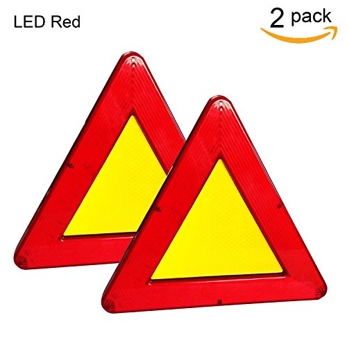 WELLHOME Red Safety Warning Triangular Reflective Kit Triangle Reflector Safety Sign for Car Truck Van Trailers Caravans Lorry Bus etc,9.05 Inch Two Modes - 2 Pack by WELLHOME (Image #6)