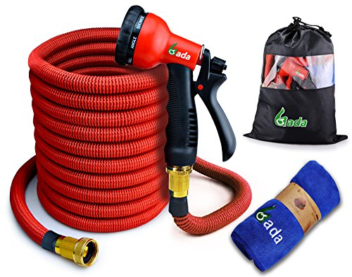 """100ft Garden Hose,Expandable Hose,Heavy Duty Flexible Hose Pipe with 8-Way Spry Nozzle,3/4"""" Pocket Water Hose (Red)"""
