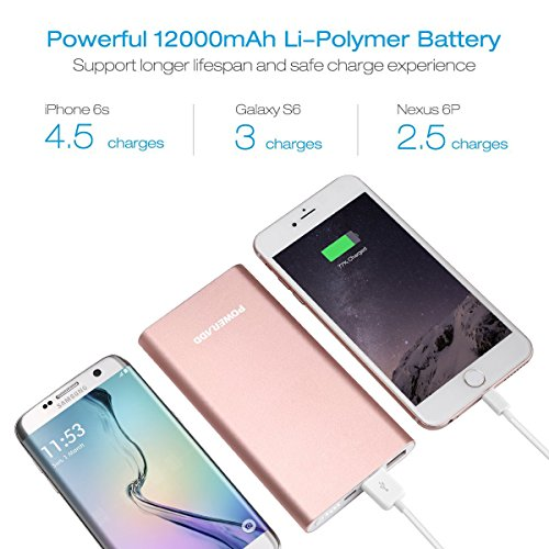 Poweradd power Bank Apple Lightning 12000mAh mobile or portable Charger Pilot 4GS combined 3A External Battery Pack thru Lightning 8 Pin Cable 33ft 1M for iPhone iPad Samsung Galaxy and additional raised Gold External Battery Packs