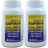 Aspirin Adult Low Dose Enteric Coated 81 mg Generic for Bayer Aspirin Low Dose 1000 Tablets Per Bottle Pack of 2