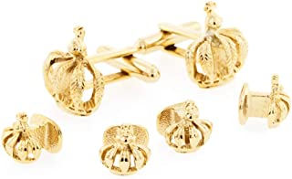 product image for JJ Weston Mardi Gras Crown Tuxedo Cufflinks and Shirt Stud Set. Made in The USA.
