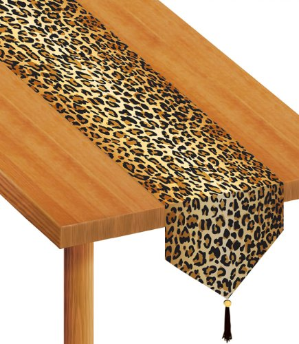 Beistle 57848 Printed Leopard Print Table Runner, 11-Inch