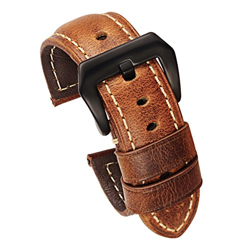 24mm Leather Replacement Watch Band Brown with Brushed Black Buckle Genuine Calfskin
