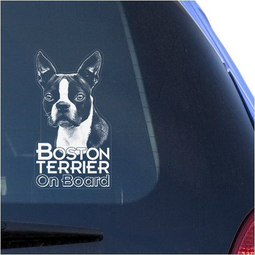 Boston Terrier Clear Vinyl Decal Sticker Portrait for Window, Bull Terrier Dog Sign Art Print