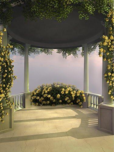 Fondo para fotos de baño, diseño de flores románticas, color amarillo, flores rojas en la columna, fondo romántico para estudio de fotografía de 5 x 7 pies: Amazon.es: Electrónica