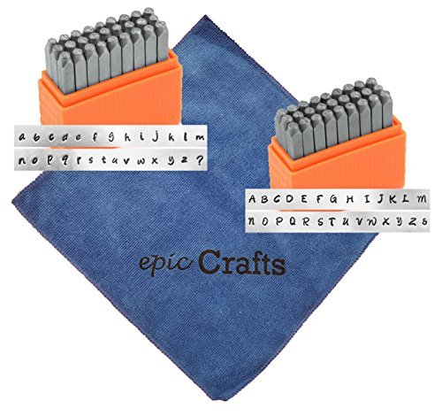 Alphabet Metal Letter Stamps Set with Basic Bridgette Uppercase and Lowercase Letter Stamps Bundled with Epic Craft Microfiber Cloth