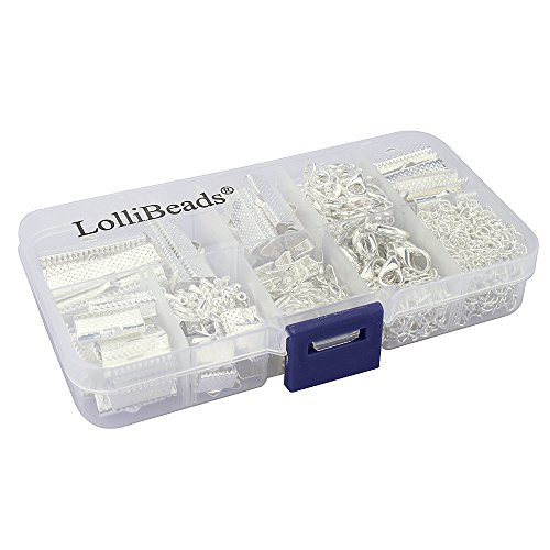 LolliBeads (TM) Assorted Size Silver Plated Ribbon Bracelet Bookmark Leather Pinch Crimps Kit with Lobster Clasps and Chain Extenders (620 Pcs)
