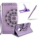 Rope Leather Case for Moto G5,Strap Wallet Case for Moto G5,Herzzer Bookstyle Classic Elegant Mandala Flower Pattern Stand Magnetic Smart Leather Case with Soft Inner for Moto G5 + 1 x Free Purple Cellphone Kickstand + 1 x Free Purple Stylus Pen - Purple