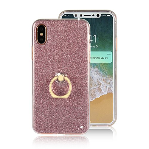 "Price comparison product image iPhone X Case, iPhone 10 Case, DAMONDY 2 In 1 Bling Ultra Thin TPU Soft Glitter Paper Back Cover with Ring Holder Kickstand Case for Apple 5.8"" iPhone X /iPhone 10 2017-pink"