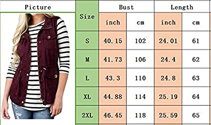 HAHAEMMA Damen Casual Weste Slim Fit Stehkragen Rei/ßverschluss Girdle Button Klassisch Cardigan /Ärmellos Jacke Loose Plus Cargo Top Outwear