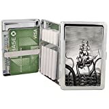 Kraken Attacks Pirate Ship Cigarette Case Metal Wallet with RFID Protection Polished Silver Stainless Steel Vintage Octopus (Regular or King Size)