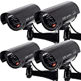 Outdoor Fake Security Camera , Dummy CCTV Surveillance System with Realistic Red Flashing Lights and Warning Sticker (4, Black)