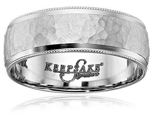 Men's Keepsake Signature 14k White Gold 7mm Hammered Wedd...