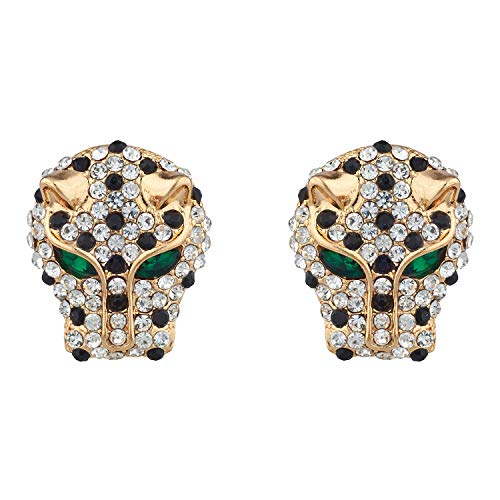 Lux Accessories Gold Tone Tiger Head Black Rhinestone Dark Green Eyes Earrings