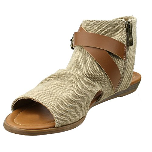 BESTON AF85 Womens Cross Strap Open Toe Summer Canvas Flat Sandal Natural q6zPB7pq