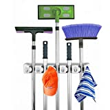 Broom & Mop Holder, Victrax Wall Mounted Organizer Janitorial and Landscaping Garden Tools Perfect for Garage, Kitchen, Basement or Laundry Room (5 Non-slip Position & 6 Hooks)