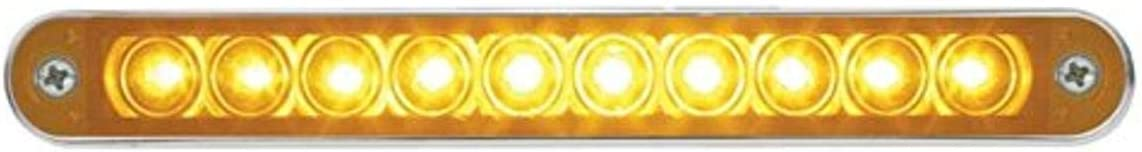 United Pacific 37637 6-1//2 inch 10 LED Turn Signal Light Bar with Bezel Amber LED//Amber Lens