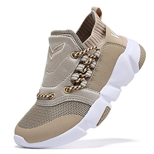 WETIKE Kids Shoes Boys Girls Sneakers High Top Lightweight Sports Shoes Slip On Running Walking School Casual Tennis Wrestling Trainer Shoes Soft Knit Mesh Khaki Size 1 (Youth Size 1 Shoes Wrestling)