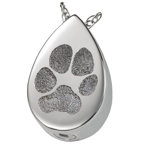 Teardrop Pet Memorial Pendant With Actual Print (Sterling Silver - Ash-Holding Chamber, Pawprint)