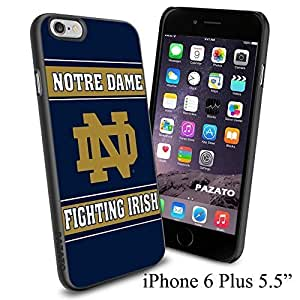 "NCAA ND NOTRE DAME FIGHTING IRISH , Cool iPhone 6 Plus (6+ , 5.5"") Smartphone Case Cover Collector iphone TPU Rubber Case Black"
