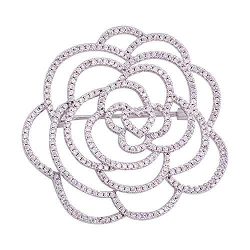 OBONNIE Cubic Zirconia Love Heart Rose Camellia Flower Brooch Pin Wedding Party Brooch Jewelry for Women (Silver)