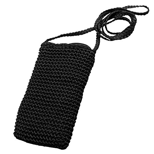 Polypropylene fiber Handmade Crochet Knit Mobile, Cell Phone Pouch Purse Bag With Shoulder Belt closed by Zipper