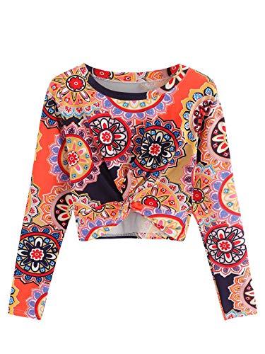 MAKEMECHIC Women's Short Sleeve Striped Twist Knot Pocket Crop Top Tee Shirt L-Multicolored L ()