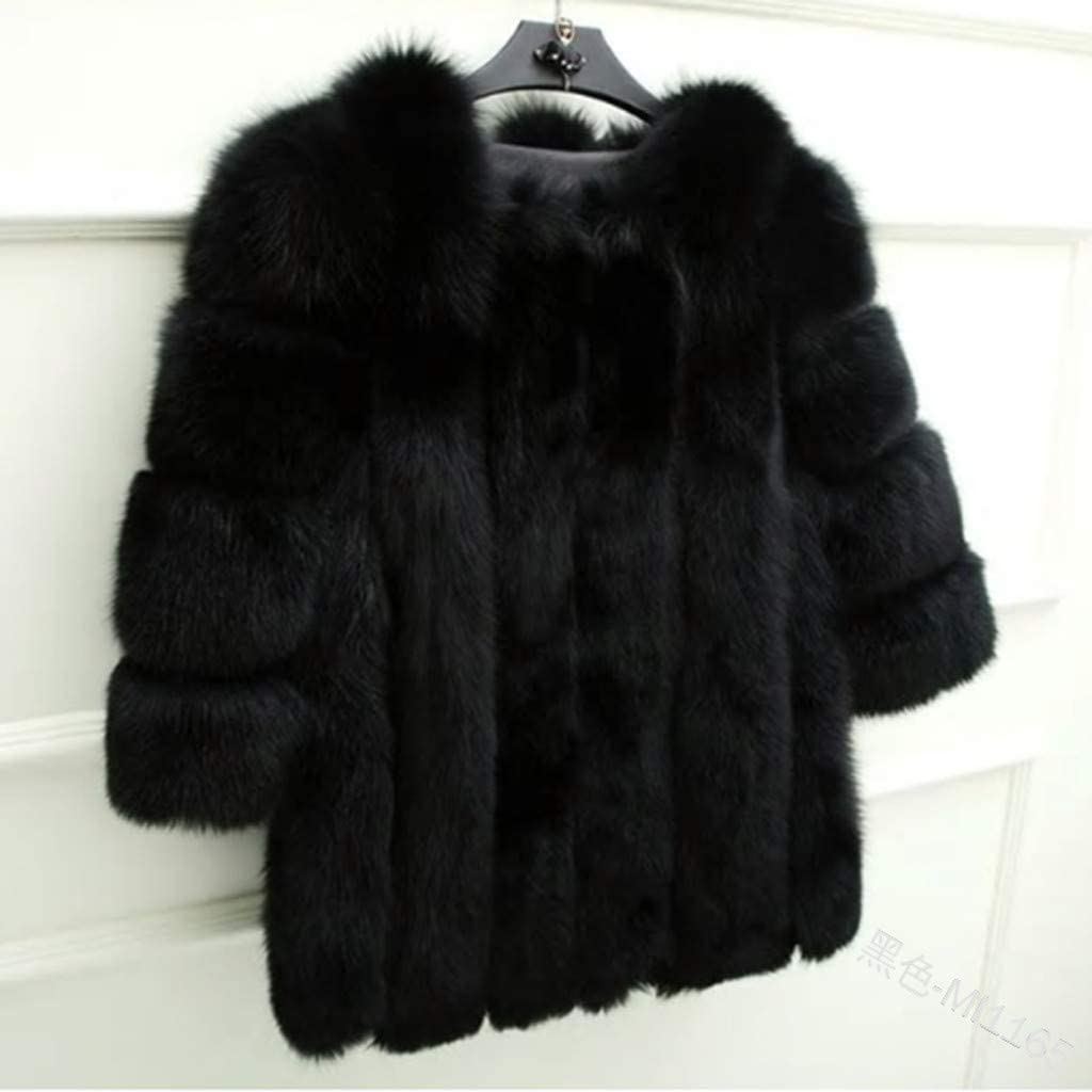 Im good at you Winter Women Black Faux Fur Coat New Long Lambswool Fur Jacket Women Fashion Thick Jacket,Dark Gray,M