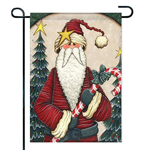 Amuseds Funny Santa Claus Illustration Garden Flag Holiday Decoration Double Sided Flag 12