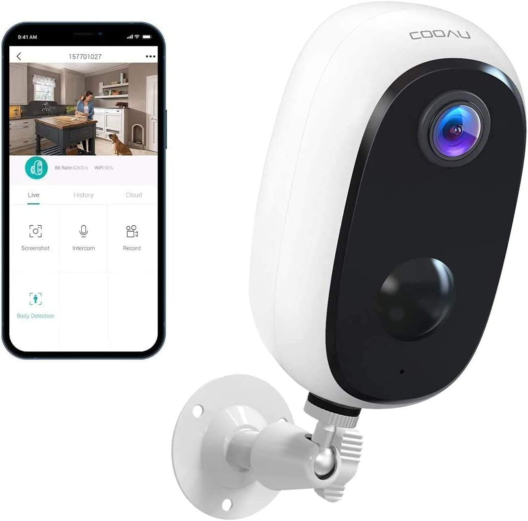 Security Camera Outdoor, COOAU Wireless Rechargeable Battery Powered Home Cameras, 1080P WiFi Indoor Surveillance Camera with Night Vision, 2-Way Audio, IP65 Waterproof, Encrypted SD/Cloud Storage