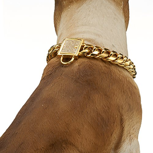 Abaxaca Gold Dog Collar Royal Metal Buckle Locking Stainless Steel 14mm Thick Training Collar Cuban Link with Zirconia Lock Necklace Chain for Strong Dog (18 inch) by Abaxaca (Image #6)