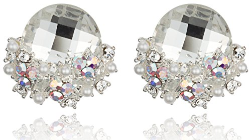 Elegant Clear Colored Rhinestone with Star-Shaped Cluster Post Earrings